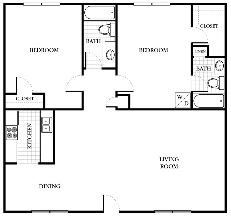 1,120 sq. ft. B3 floor plan