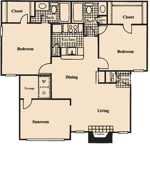 1,153 sq. ft. S8 floor plan
