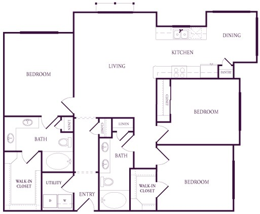 1,354 sq. ft. A-E1S floor plan