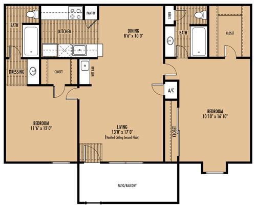 1,052 sq. ft. E floor plan