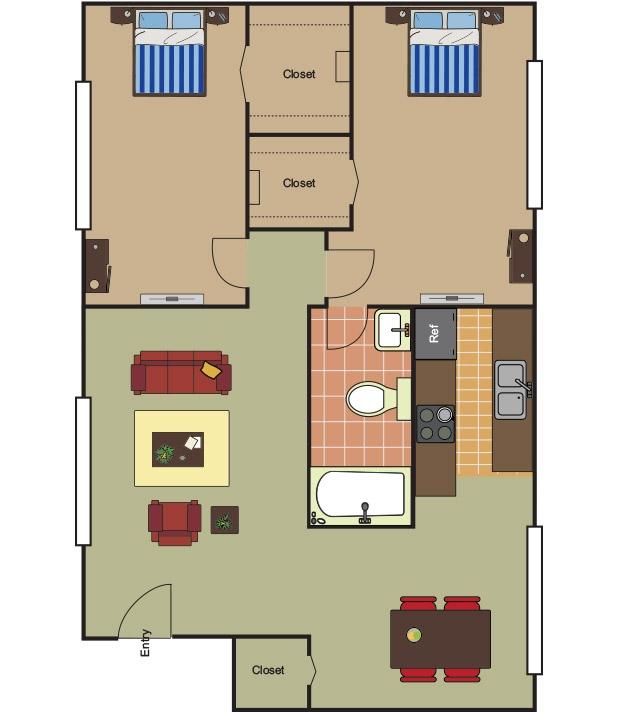 850 sq. ft. B-1 floor plan