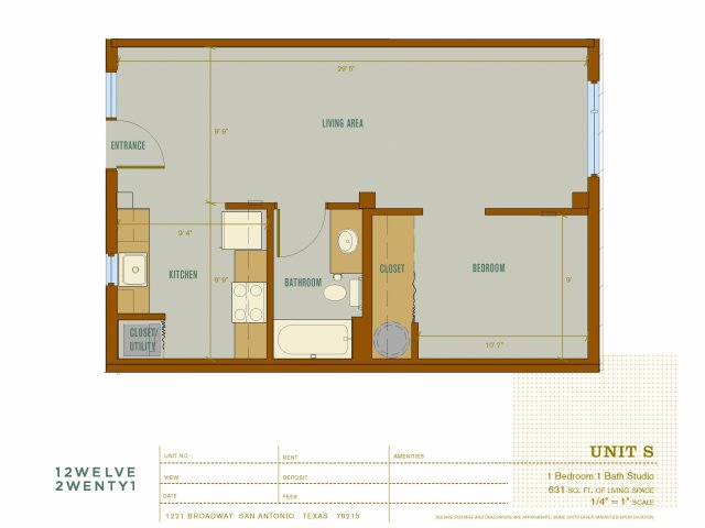 631 sq. ft. S floor plan