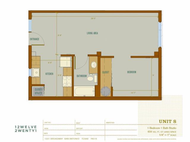 631 sq. ft. S floor plan