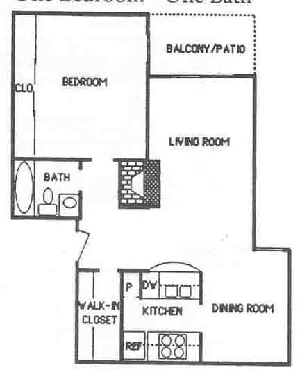 688 sq. ft. A2 floor plan