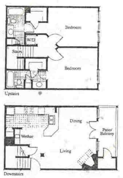 1,027 sq. ft. B2 floor plan
