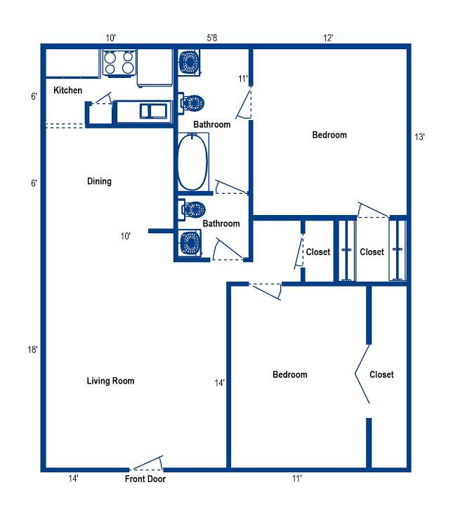 980 sq. ft. 2C floor plan