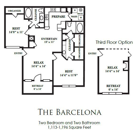1,113 sq. ft. B2 floor plan