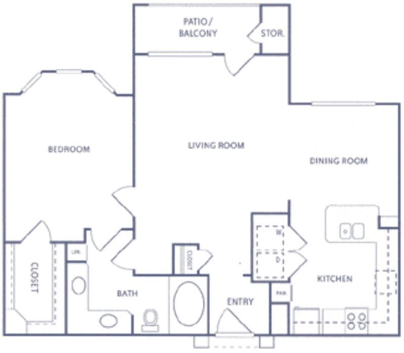 945 sq. ft. A2a floor plan