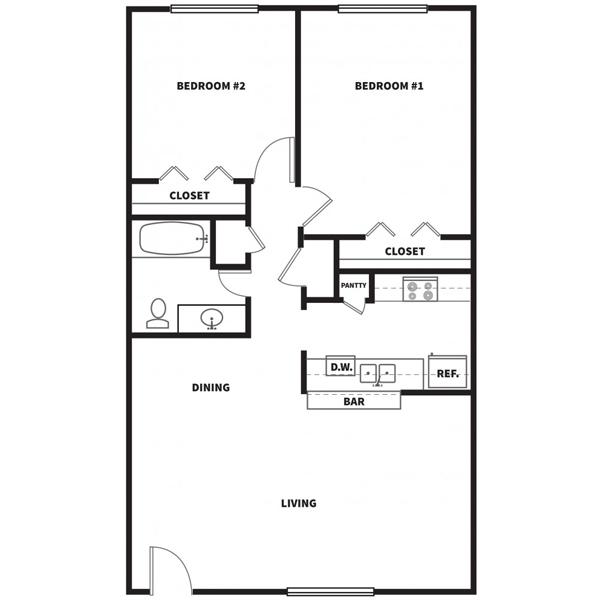 918 sq. ft. C2 floor plan