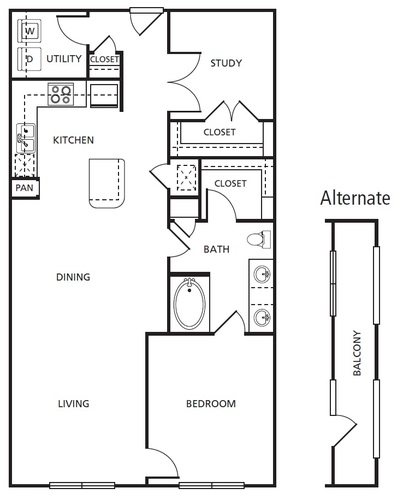 1,043 sq. ft. A5 floor plan