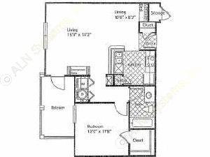732 sq. ft. SPANISH BAY floor plan
