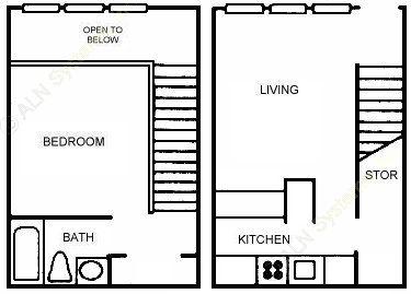 531 sq. ft. A1 floor plan