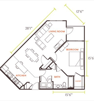 863 sq. ft. E7H floor plan