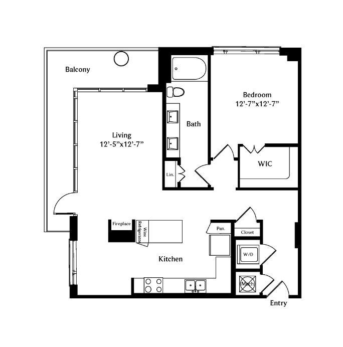 982 sq. ft. A6B floor plan