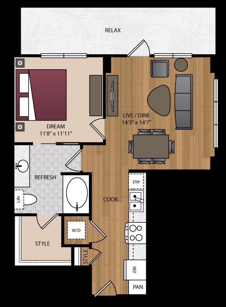 719 sq. ft. P-A5 floor plan