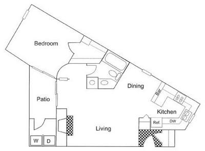 634 sq. ft. A1 floor plan