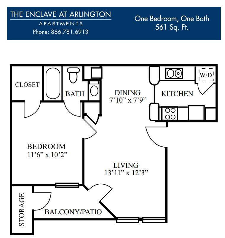 561 sq. ft. A floor plan