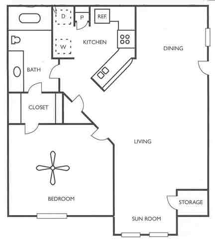 692 sq. ft. Maverick floor plan