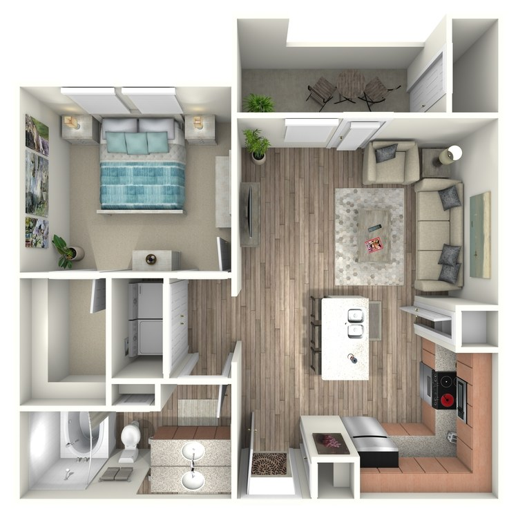 654 sq. ft. A1 floor plan