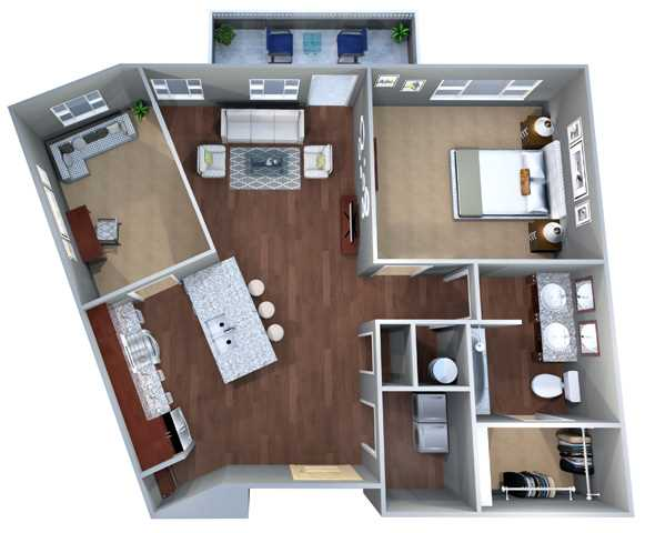 870 sq. ft. 1H floor plan