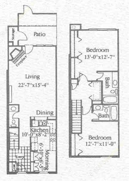 1,312 sq. ft. B2 floor plan