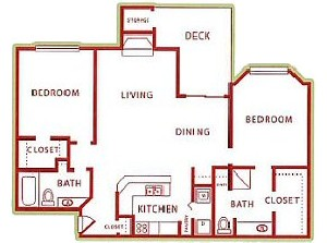 1,102 sq. ft. B4 floor plan