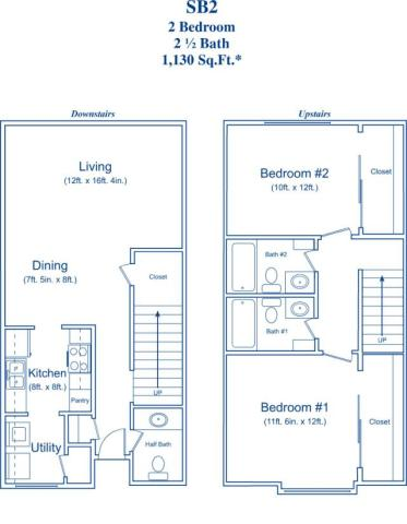 1,130 sq. ft. SB2 floor plan