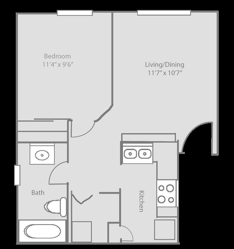 537 sq. ft. AVALON floor plan