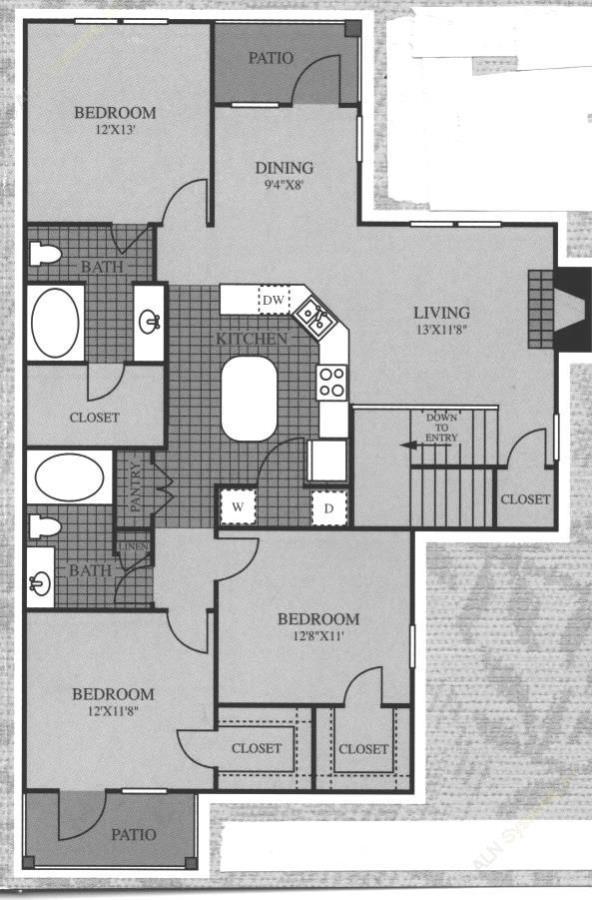 1,374 sq. ft. Bellini floor plan