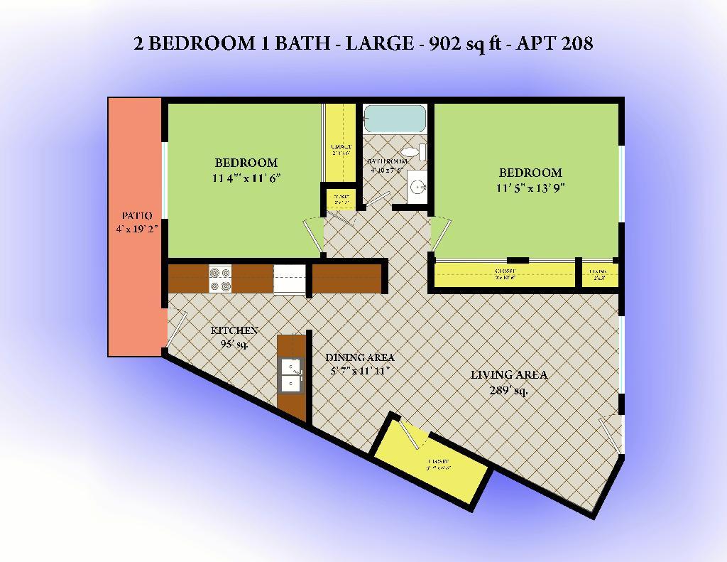 902 sq. ft. floor plan
