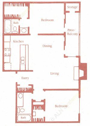 917 sq. ft. D floor plan