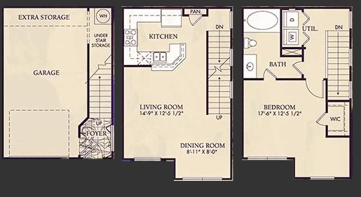 878 sq. ft. A4U floor plan