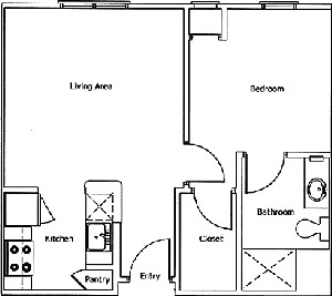546 sq. ft. WILCREST floor plan