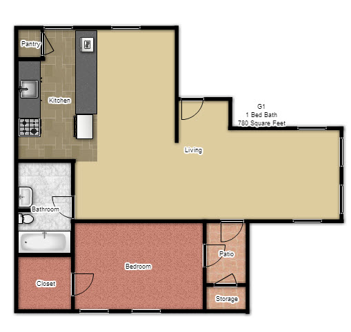 780 sq. ft. G1 floor plan