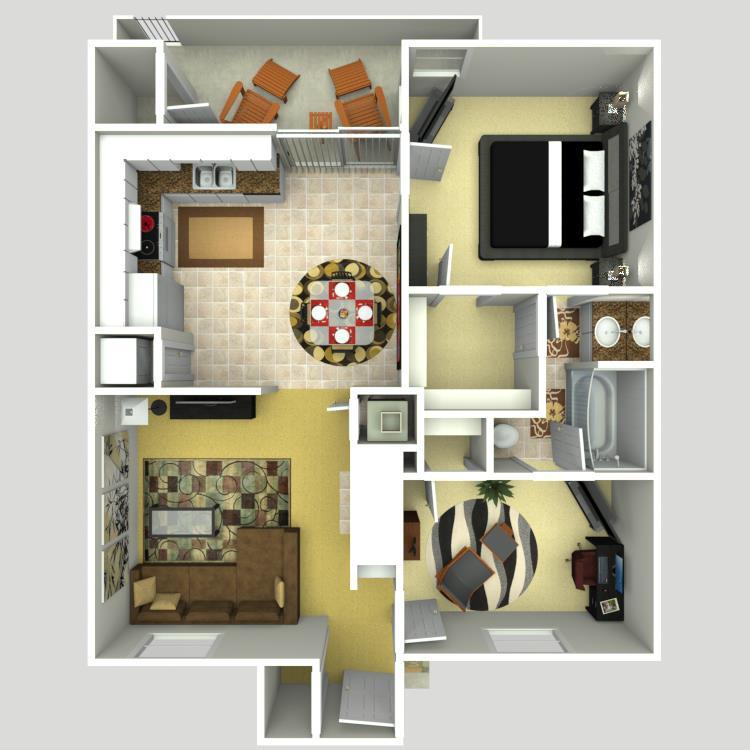 748 sq. ft. D floor plan
