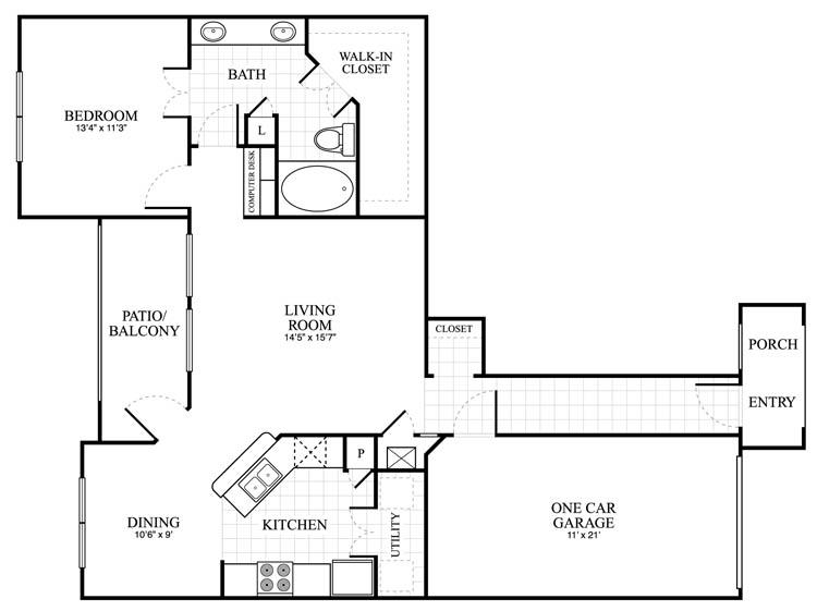 1,005 sq. ft. Asbury floor plan