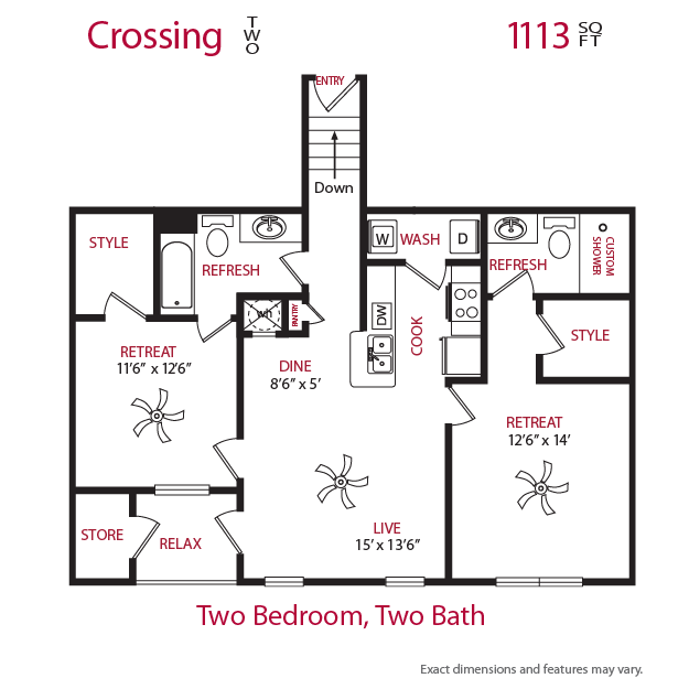 1,113 sq. ft. Crossing 2 floor plan