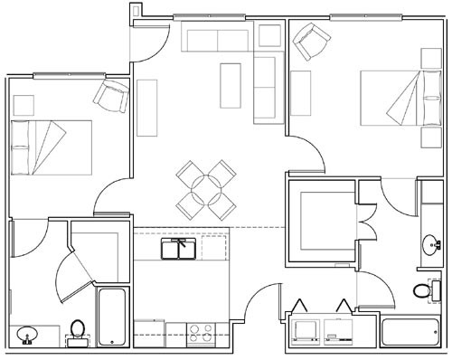 946 sq. ft. Honeysuckle/60% floor plan