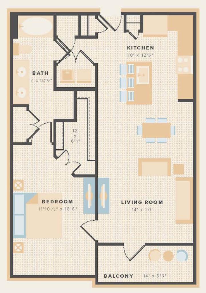 900 sq. ft. A5 floor plan
