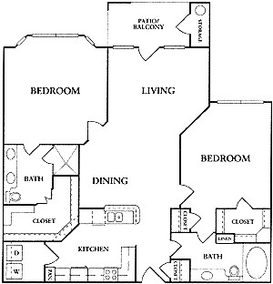 1,182 sq. ft. C1 floor plan