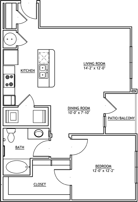 810 sq. ft. A3 floor plan