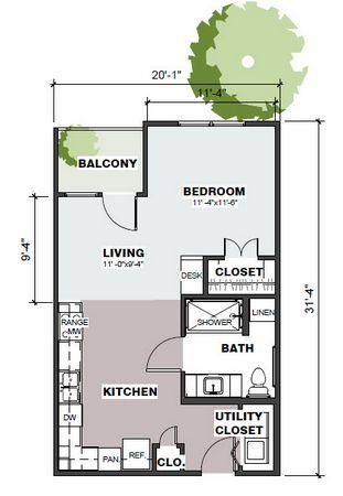 575 sq. ft. Juniper/50% floor plan