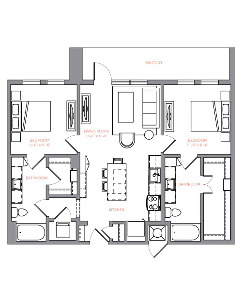 1,015 sq. ft. B1A.2 floor plan