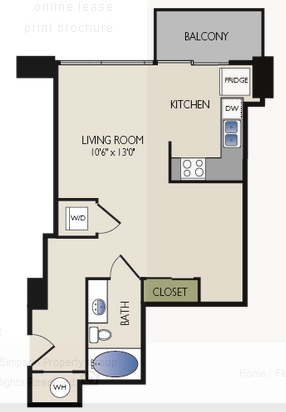 544 sq. ft. C1 floor plan