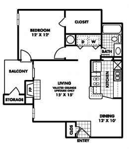718 sq. ft. A2 floor plan