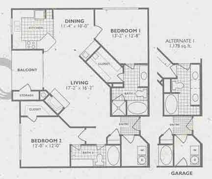 1,178 sq. ft. B5/B5A floor plan