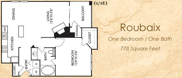 778 sq. ft. Roubaix floor plan