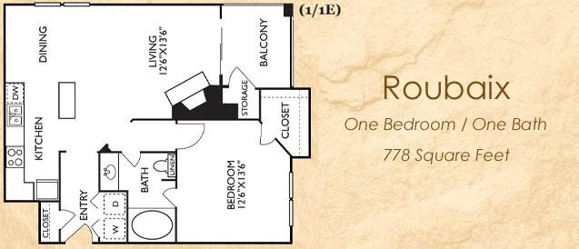 778 sq. ft. 11E floor plan