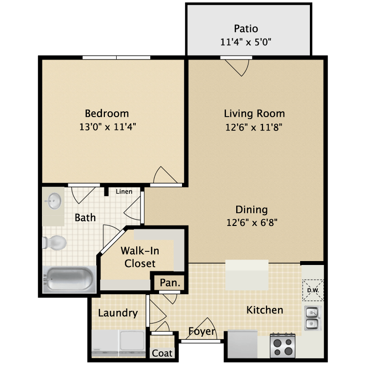 704 sq. ft. II A1.2 floor plan