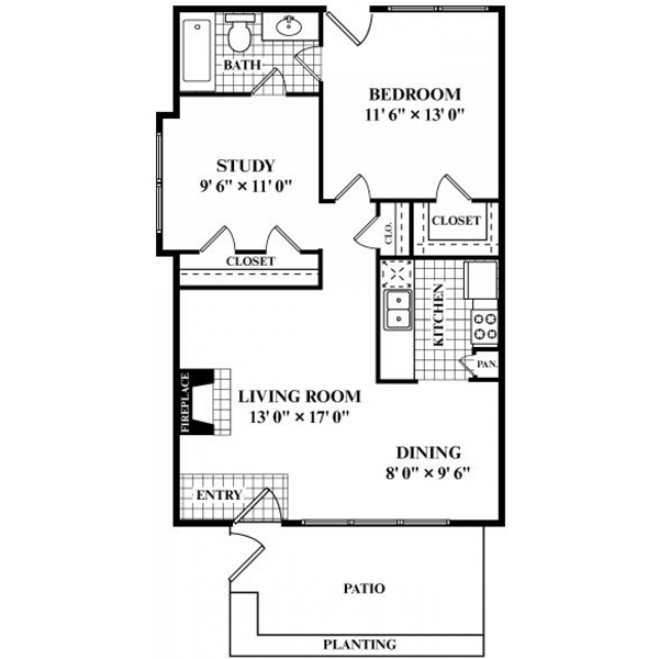 803 sq. ft. to 824 sq. ft. F floor plan